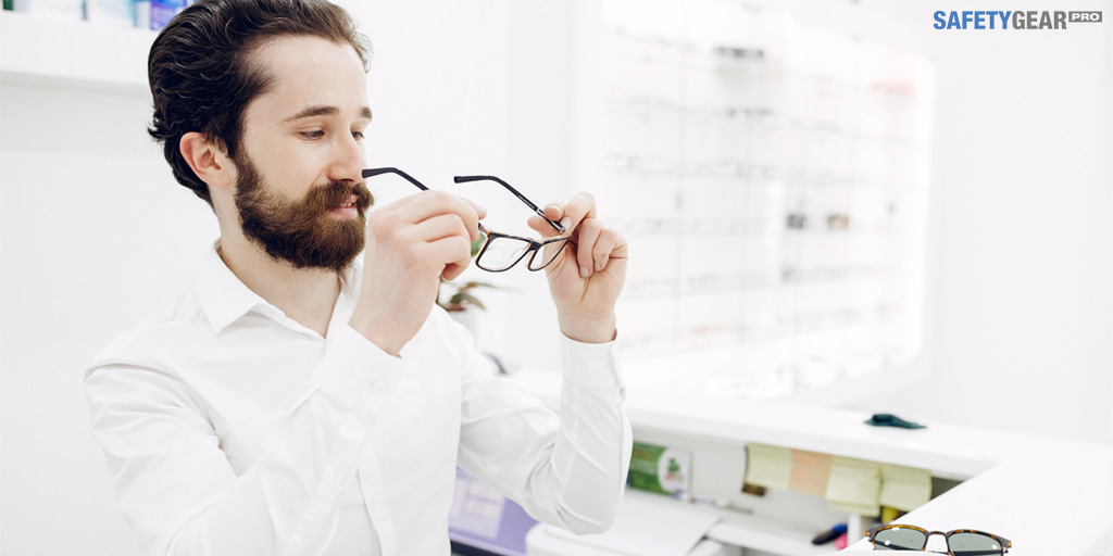 Person Trying on Glasses