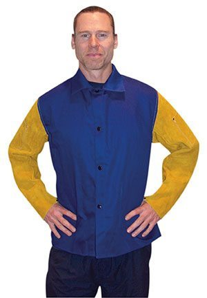 Flame-Retardant Cotton Jacket with Leather Sleeves