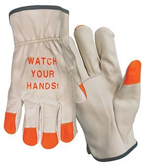 Hi-Viz Grain Cowhide Leather Drivers Gloves