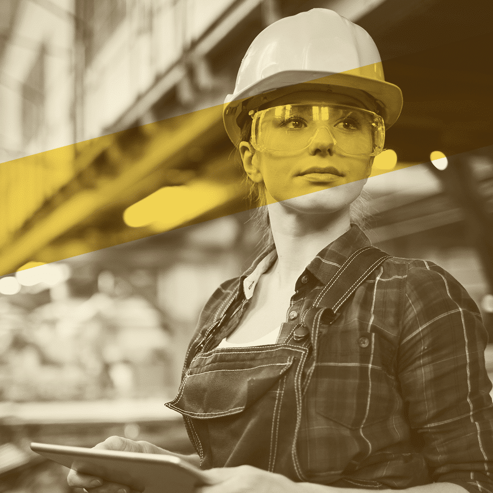 woman wearing hardhat