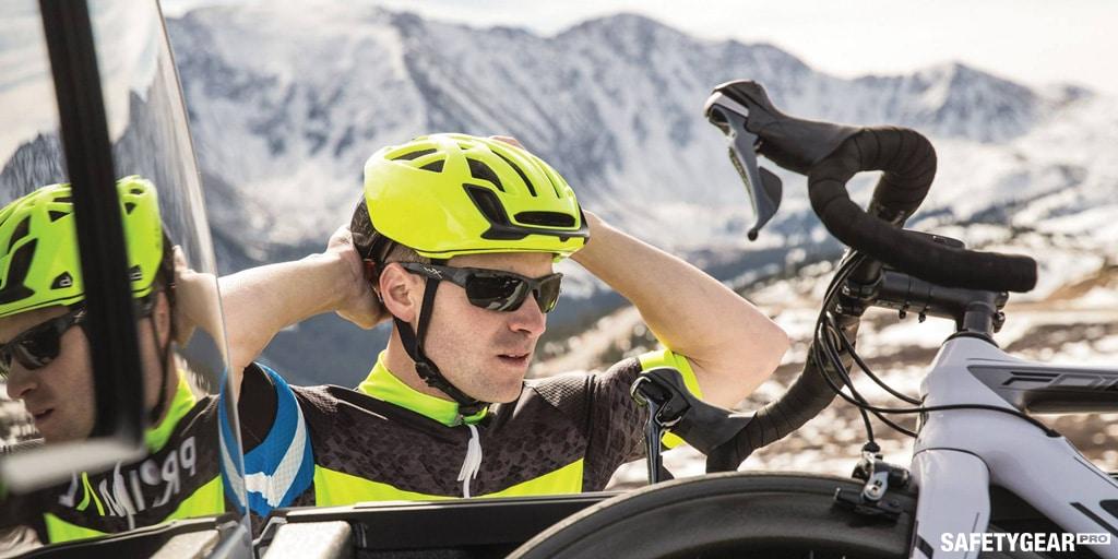 man wearing biking helmet with wiley x sunglasses