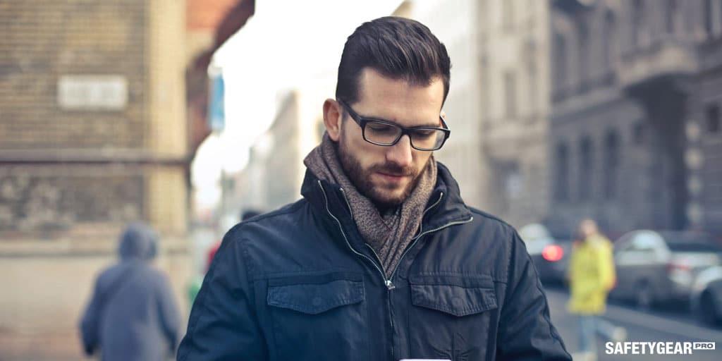 man wearing prescription glasses