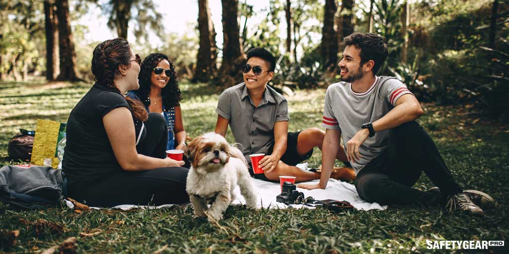 Friends on a picnic wearing protective sunglasses