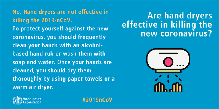 Are hand dryers effective in killing the new coronavirus?