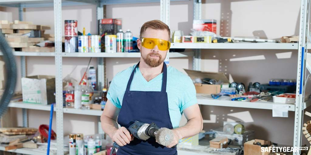 Man wearing Rx safety glasses