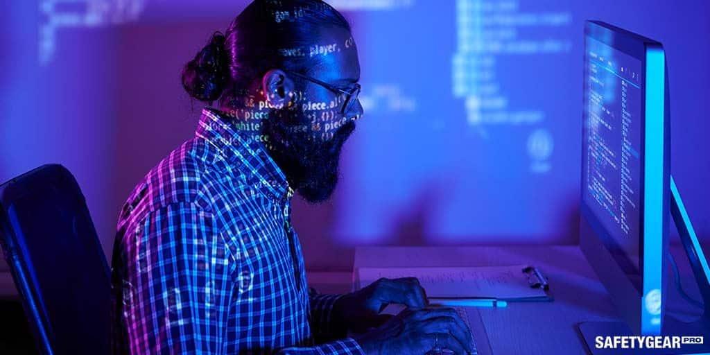 Man wearing computer screen glasses