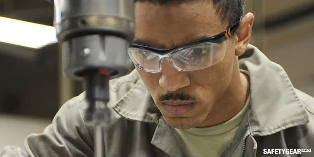 man wearing OnGuard safety glasses at work