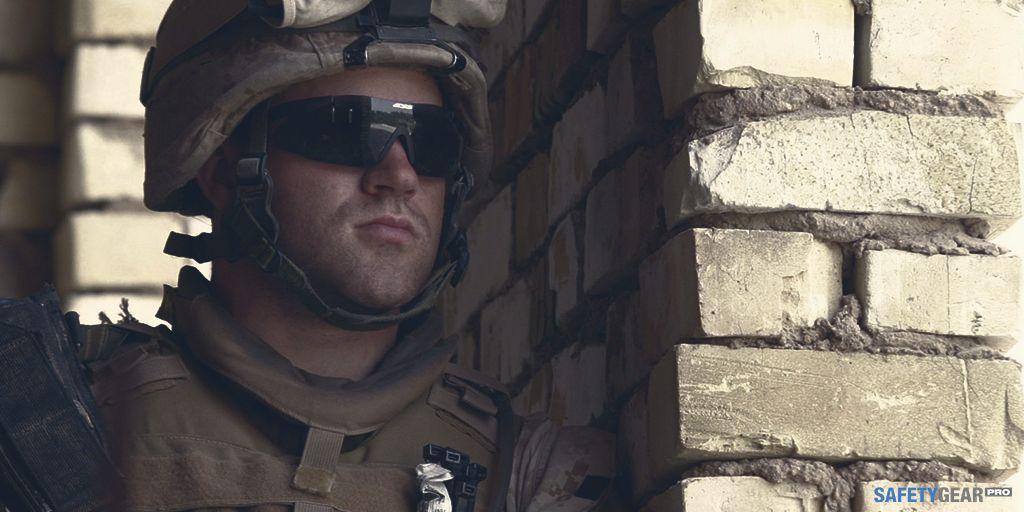soldier wearing military aviator sunglasses