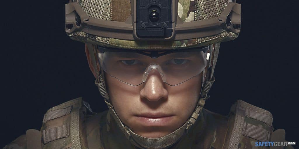 solider wearing ballistic safety glasses