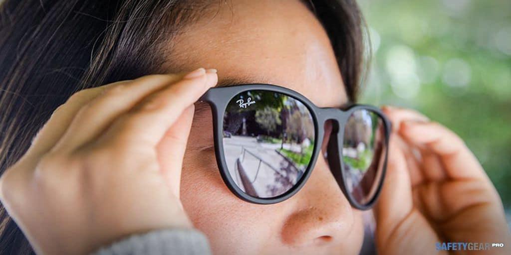 Woman wearing Ray Ban Sunglasses
