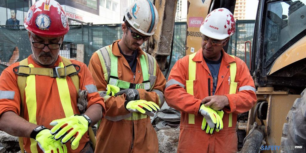 Construction workers wearing PPE