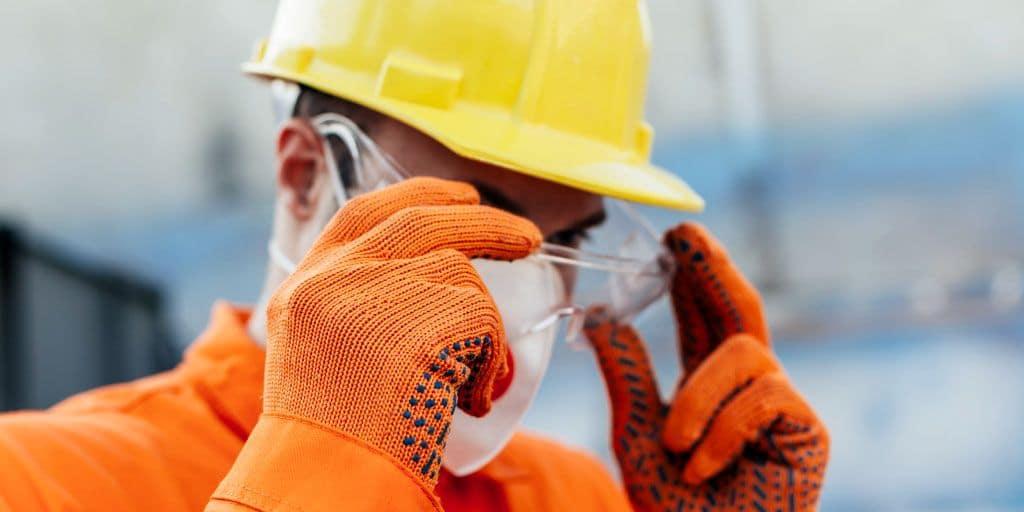 Man Wearing Osha Construction Glasses